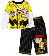 Komar Kids Little Boys 2T-4T Peanuts Striped Baseball Slider Pajama Set