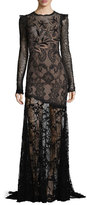 Andrew Gn Long-Sleeve Asymmetric Floral Lace Gown, Black