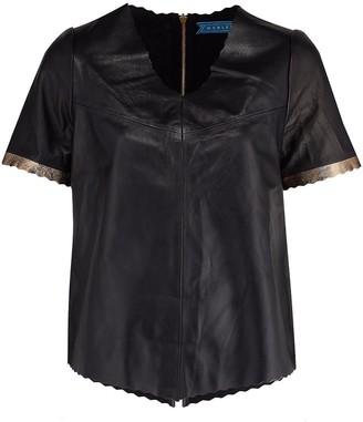 Manley Alexa Leather Tee - Black & Gold