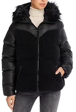 Hunter Faux Fur Trim Hybrid Puffer Coat