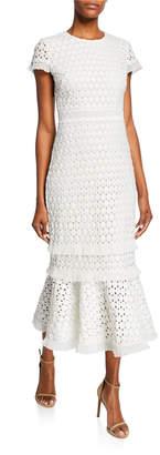 Shoshanna Floriana Short-Sleeve Midi Lace Flounce Dress