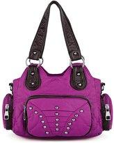 UTO Women Handbag Medium Purse PU Washed Leather Hobo Style Rivet Studded Shoulder Bag