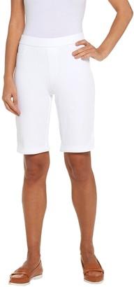 Isaac Mizrahi Live! Petite Knit Denim Bermuda Shorts