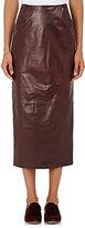 Brock Collection Women's Lambskin Pencil Midi-Skirt-BURGUNDY