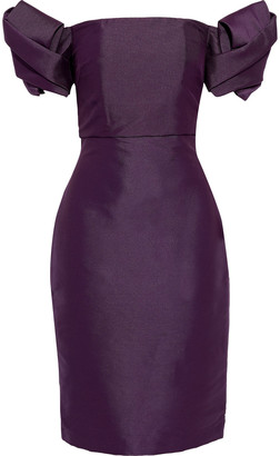 Badgley Mischka Off-the-shoulder Pleated Duchesse Satin-twill Dress