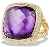 David Yurman Albion® Ring With Amethyst And Diamonds In 18K Gold, 20Mm
