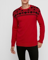 Express Wool-Blend Fair Isle Crew Neck Sweater