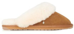 Emu Chestnut Suede Jolie Slipper - 36 - Brown/White