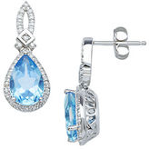 Lord & Taylor 14Kt. White Gold Diamond and Blue Topaz Earrings