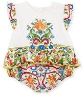 Dolce & Gabbana Maiolica Ruffle Bodysuit, Size 3-18 Months