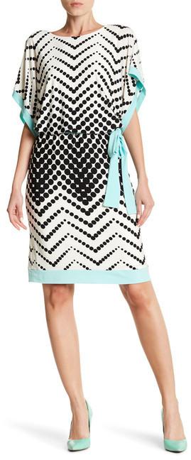 Sandra Darren Polka Dot Print Waist Belt Dress