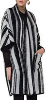 Akris Punto Striped Knit Cape Coat, Multi Pattern