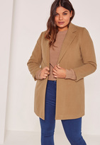 Missguided Plus Size Camel Brown Tailored Coat