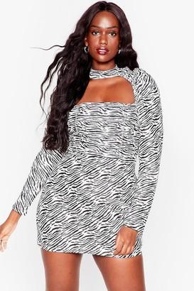 Nasty Gal Womens Get Wild Plus Zebra Mini Dress - Black