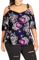 City Chic Plus Size Women's Sheer Paradise Off The Shoulder Top