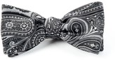 The Tie Bar Charcoal Empire Paisley Bow Tie