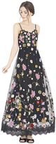 Alice + Olivia Lindy Embroidered V-Neck Spaghetti Strap Gown
