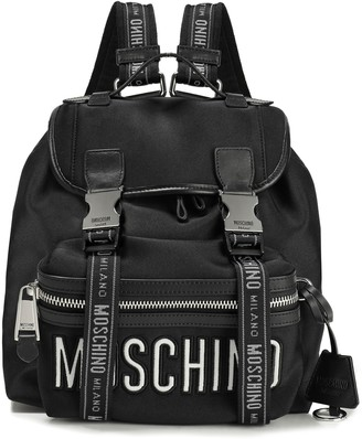 Moschino Leather-trimmed Embroidered Neoprene Backpack