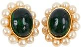 Chanel Baroque Green Metal Earrings