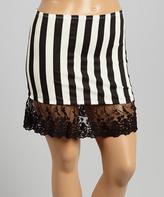 Black & White Stripe Lace-Trim Miniskirt - Plus