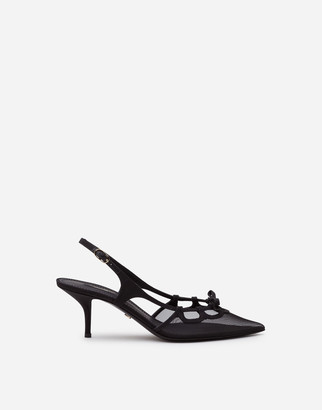 Dolce & Gabbana Slingback Shoes In Mesh And Grosgrain
