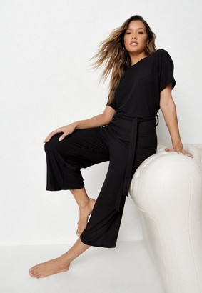 Missguided Rib Tie Waist Slouchy Playsuit