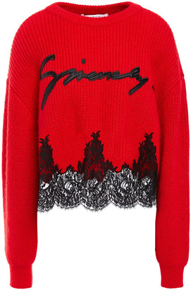 Givenchy Lace-paneled Appliqued Ribbed-knit Sweater