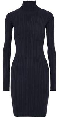 Lanvin Zip-detailed Ribbed Wool-blend Turtleneck Mini Dress