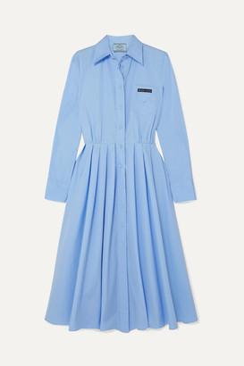 Prada Pleated Cotton Shirt Dress - Blue