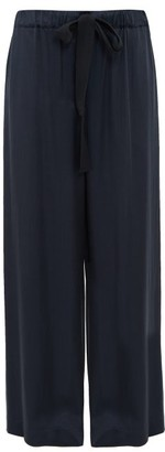 Raey Elasticated Drawstring Waist Satin Trousers - Womens - Navy