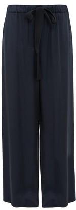 Raey Elasticated Drawstring-waist Satin Trousers - Womens - Navy