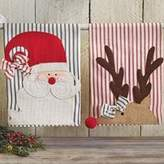 Mud Pie Set of 2 Christmas Cotton Ticking Hand Towels Holiday SANTA REINDEER