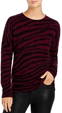 C by Bloomingdale's Zebra Stripe Brushed Cashmere Sweater - 100% Exclusive