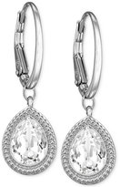 Swarovski Silver-Tone Crystal Teardrop Leverback Earrings