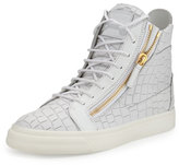 Giuseppe Zanotti Men's Crocodile-Embossed Leather High-Top Sneaker, White