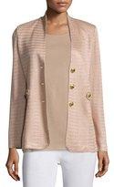 Misook Textured Gold-Button Jacket, Sand, Petite