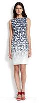 modern Women's Sleeveless Sheath Dress-White Dahlia Multi Stars
