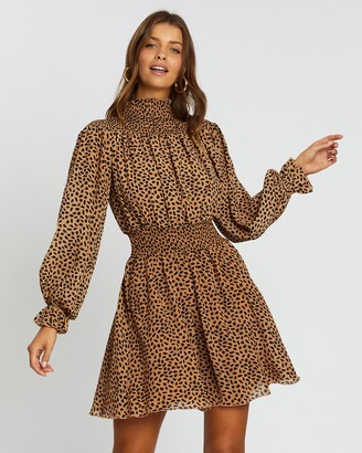 Atmos & Here Atmos&Here - Women's Brown Mini Dresses - Fran Shirred Dress - Size 6 at The Iconic
