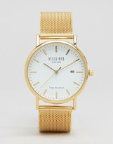 Reclaimed Vintage Inspired Mesh Strap Watch In Gold