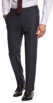 Ermenegildo Zegna Flannel Flat-Front Trousers, Navy