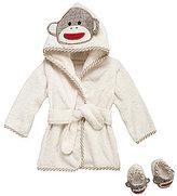Baby Starters Sock Monkey Hooded Robe & Slippers Set
