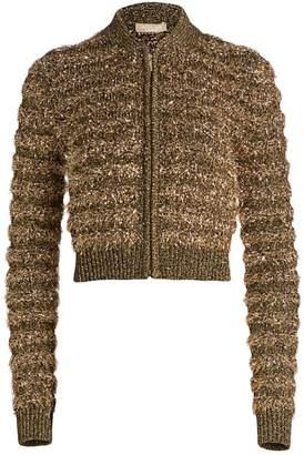 Michael Kors Textured Metallic Zip-Front Bomber Jacket