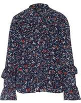 W118 By Walter Baker Samuel Ruffled Floral-Print Georgette Shirt
