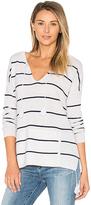 Autumn Cashmere Tassel Striped Baja Sweater in White. - size XS (also in )