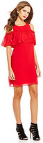 Gianni Bini Mia Short Sleeve Cold-Shoulder Solid Shift Dress