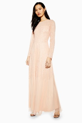 Womens **Embellished Nude Maxi Dress By Lace & Beads - Nude