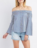 Charlotte Russe Striped Off-The-Shoulder Bell Sleeve Top