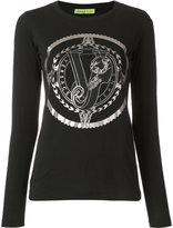 Versace foil logo long sleeve top - women - Cotton - XS
