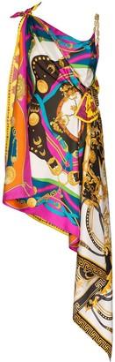 Versace mixed print draped asymmetric dress