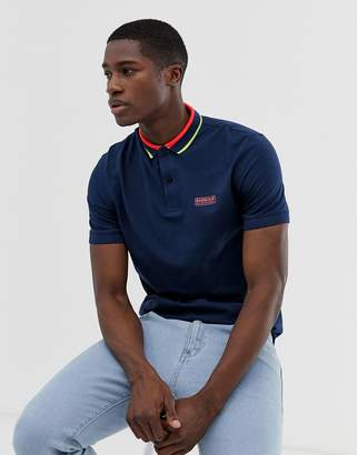 Barbour International Shift tipped logo polo in blue